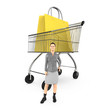 3d character , woman and cart with shopping bags