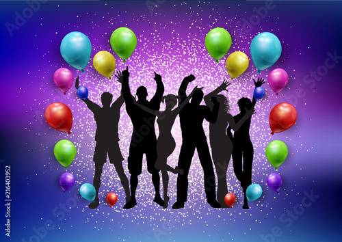 Party crowd on a balloons and glitter background - 216403952