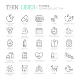 Collection of fitness related line icons