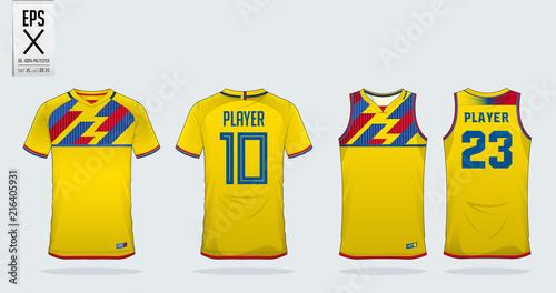 261b63bf5 Yellow t-shirt sport design template for soccer jersey