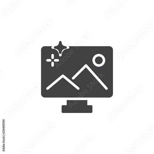 Canvas Wit Landscape on monitor vector icon. filled flat sign for mobile concept and web design. TV with the picture simple solid icon. Symbol, logo illustration. Pixel perfect vector graphics