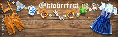 Rustic background for Oktoberfest - 216409771