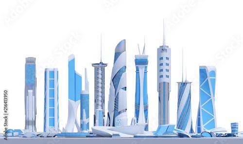 panorama from futuristic buildings - 216413950