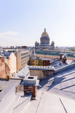 View from the roofs to St. Petersburg, the sights of the city from a height - 216417319