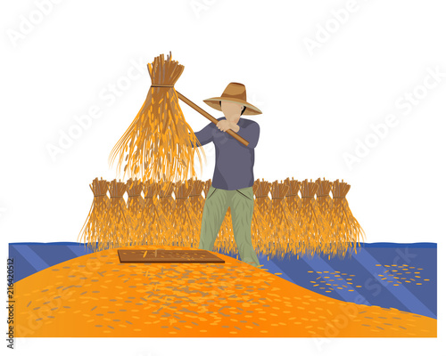 farmer hit the rice vector design - 216420512