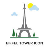 Eiffel tower icon vector sign and symbol isolated on white background, Eiffel tower logo concept