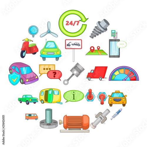 Fotobehang Auto Car maintenance icons set. Cartoon set of 25 car maintenance vector icons for web isolated on white background