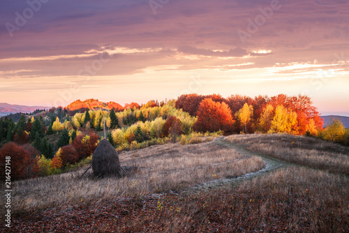 Foto Spatwand Chocoladebruin Autumn landscape with a haystack in the mountains