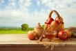 Leinwanddruck Bild - Honey and apples on wooden table