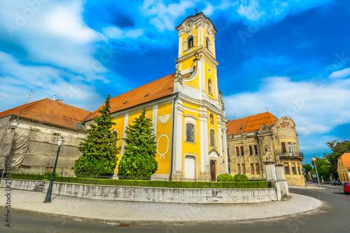 Kościół święty Florian Varazdin. / Malowniczy widok na średniowieczną architekturę barokową w starym mieście Varazdin, Chorwacja.