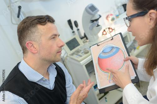Leinwanddruck Bild ophthalmologist explaining patient eye problem
