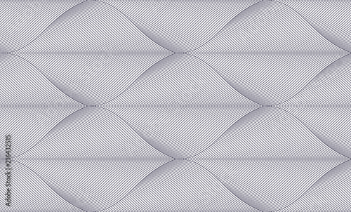 Geometric seamless pattern, abstract tiling background, vector repeat endless wallpaper illustration. Floral leaves or fish squama shapes trendy motif. Single color, black and white. - 216432515
