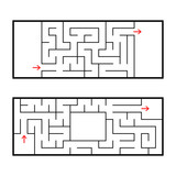 A set of two rectangular labyrinths. An interesting and useful game for preschoolers. Easy puzzle. Simple flat vector illustration isolated on white background. - 216439974