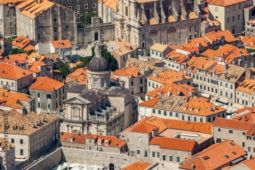 Leinwanddruck Bild Old town in Europe on coast of Adriatic Sea. Dubrovnik. Croatia.