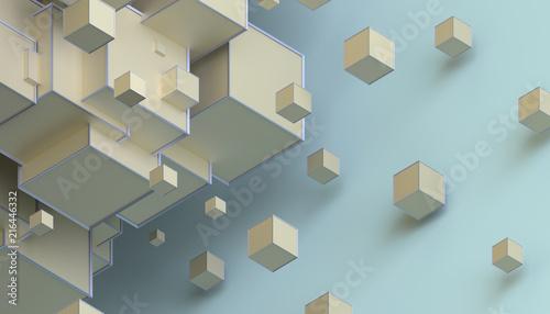 Abstrakcjonistyczny 3d rendering geometryczni kształty. Kompozycja z kostkami. Nowoczesny projekt tło na plakat, okładka, marki, baner, afisz.