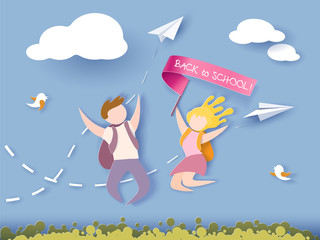 Back to school 1 september card. Children jumping. Paper cut style. Vector illustration