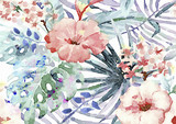 Exotic leaves and flowers watercolor bacground - 216449332