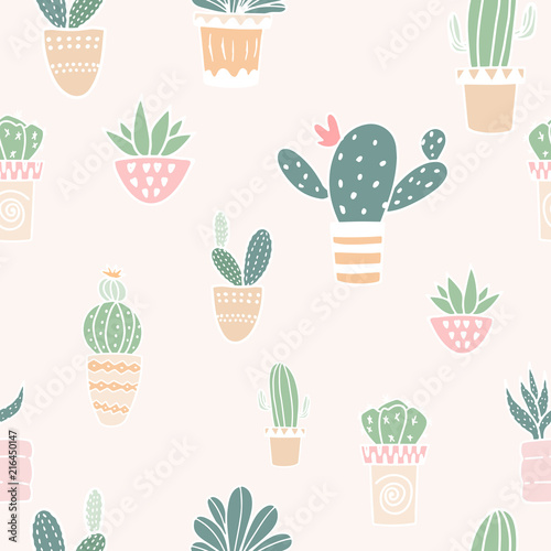 Flat design cactus seamless pattern background. - 216450147