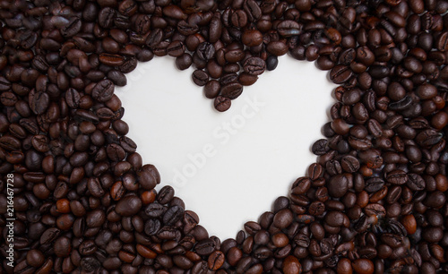 Foto Spatwand Koffiebonen Heart shape Coffee Beans