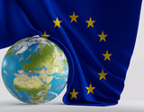 world planet Europe with european flag 3d-illustration. elements of this image furnished by NASA