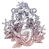 Hand drawn artwork of beautiful mermaid girl sitting on the anchor and listening to seashell.