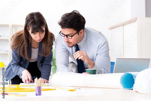 Leinwandbild Motiv Engineers working on new project