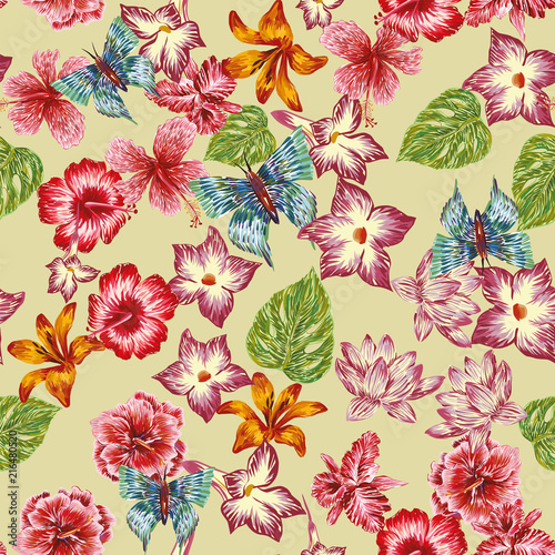 Hand drawn butterfly flowers leaves pattern seamless background