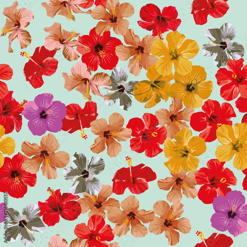 Hibiscus flowers pattern seamless background