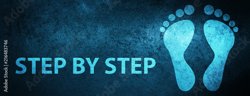 Step by step (footprint icon) special blue banner background