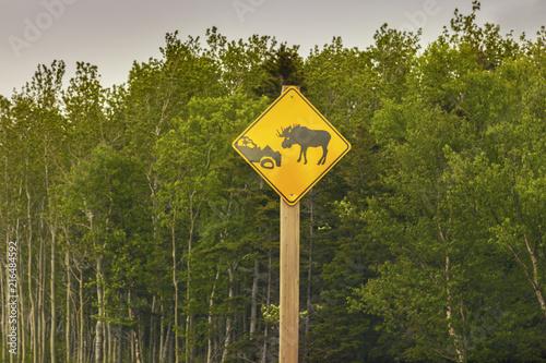 In de dag Canada Moose sign in Newfoundland