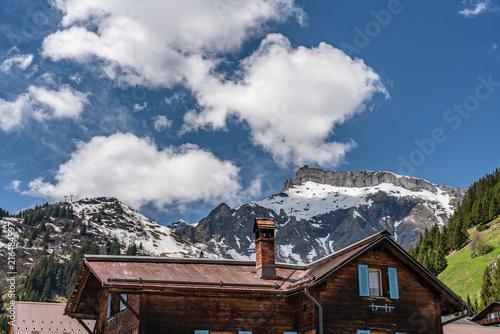 Foto Spatwand Chocoladebruin Murren roofs and alps view