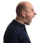 Portrait of a shouting man. Isolated