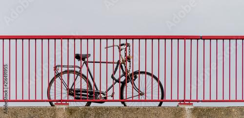Aluminium Fiets Bike locked to the railing