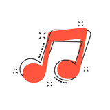 Vector cartoon music icon in comic style. Sound note sign illustration pictogram. Melody music business splash effect concept. - 216493176