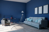 Modern blue living room - 216496910