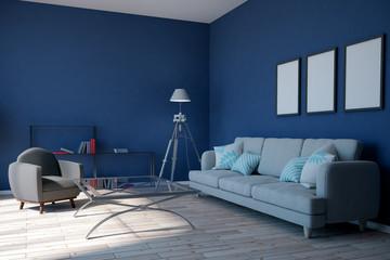 Modern blue living room © peshkova
