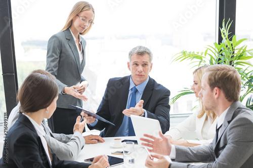 Leinwandbild Motiv Business team work with documents
