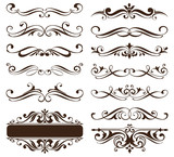 Vintage ornaments design elements floral curlicues white background curbs frame corners stickers illustration - 216500903