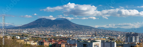 Fotobehang Napels Panorama of Naples, view of the modern part of the city and Mount Vesuvius on bacground