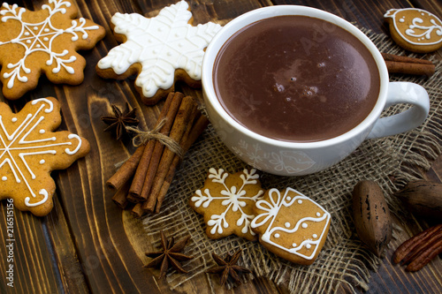 Canvas Chocolade Hot chocolate and Christmas composition on the rustic wooden background