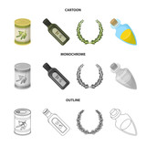 A can of canned olives, a bottle of oil with a sticker, an olive wreath, a glass jar with a cork. Olives set collection icons in cartoon,outline,monochrome style vector symbol stock illustration web. - 216518571