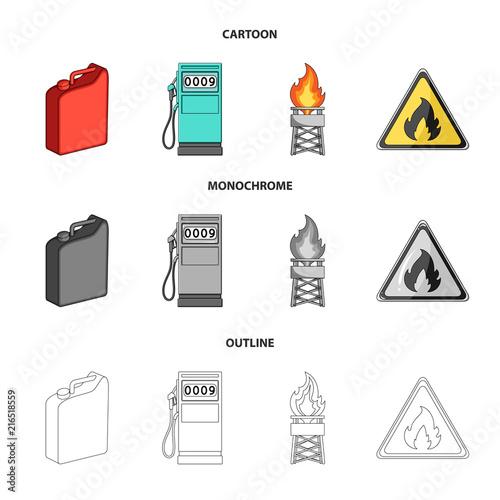 Canister For Gasoline Gas Station Tower Warning Sign Oil Set