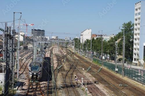 Foto Spatwand Spoorlijn Départ du train