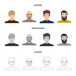 The face of a Bald man with glasses and a beard, a bearded man, the appearance of a guy with a hairdo. Face and appearance set collection icons in cartoon,outline,monochrome style vector symbol stock
