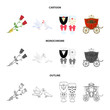 Wedding and Attributes cartoon ,flat,outline,black icons in set collection for design.Newlyweds and Accessories vector symbol stock web illustration. - 216518918