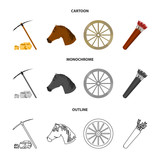 Pickax hoe, horse head, wheel cart, quiver with arrows.Wild west set collection icons in cartoon,outline,monochrome style vector symbol stock illustration web.