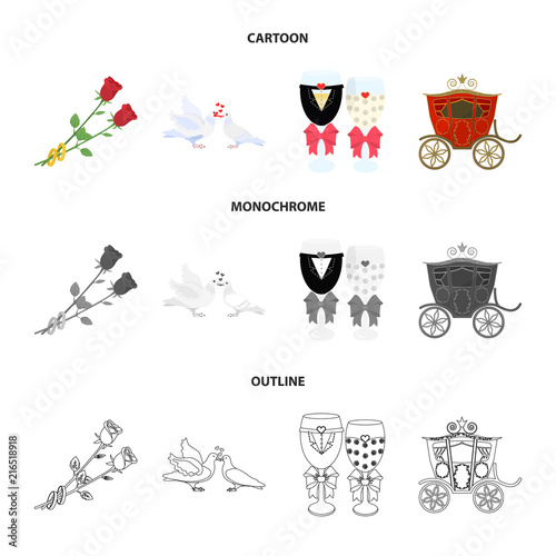 Poślubiać i atrybut kreskówka, mieszkanie, kontur, czarne ikony w ustalonej kolekci dla projekta Nowożeńcy i akcesoria wektorowa symbolu zapasu sieci ilustracja.