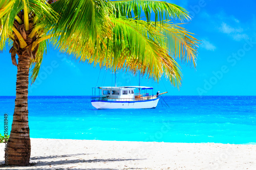 Foto Spatwand Bali Dream beach with palm on white sand and sailing yacht in turquoise ocean