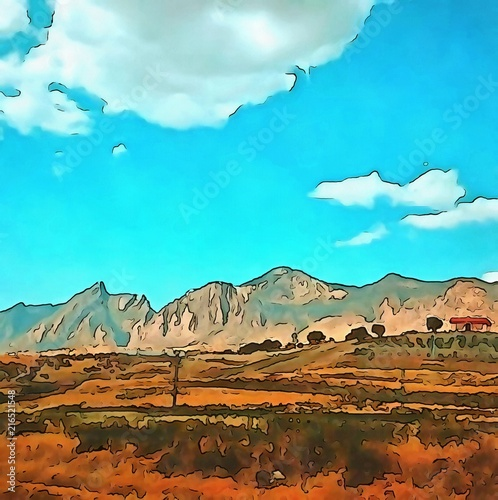 Foto Spatwand Turkoois Oil painting. Art print for wall decor. Acrylic artwork. Big size poster. Watercolor drawing. Modern style fine art. Beautiful mountain ladscape. Wonerful wild nature.