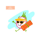 funny tropical cartoon dragon fruit running with inflatable mattress on the beach